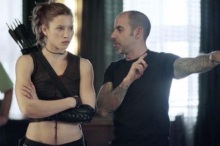 Jessica Biel y David S. Goyer en el rodaje de Blade Trinity
