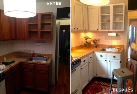 Una reforma express la cocina como nueva en veinticuatro - Cambiar suelo cocina sin quitar muebles ...