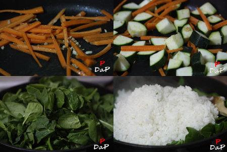 Paso a paso de la preparación del arroz con espinacas