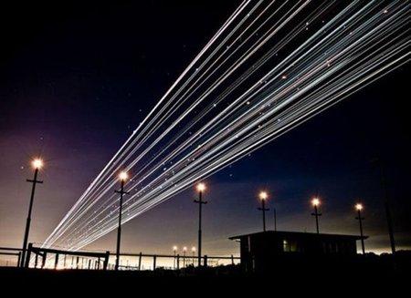 Aterrizaje y despegue de aviones desde el prisma de la larga exposición