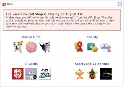 Facebook cerrará su tienda de regalos virtuales el 1 de agosto