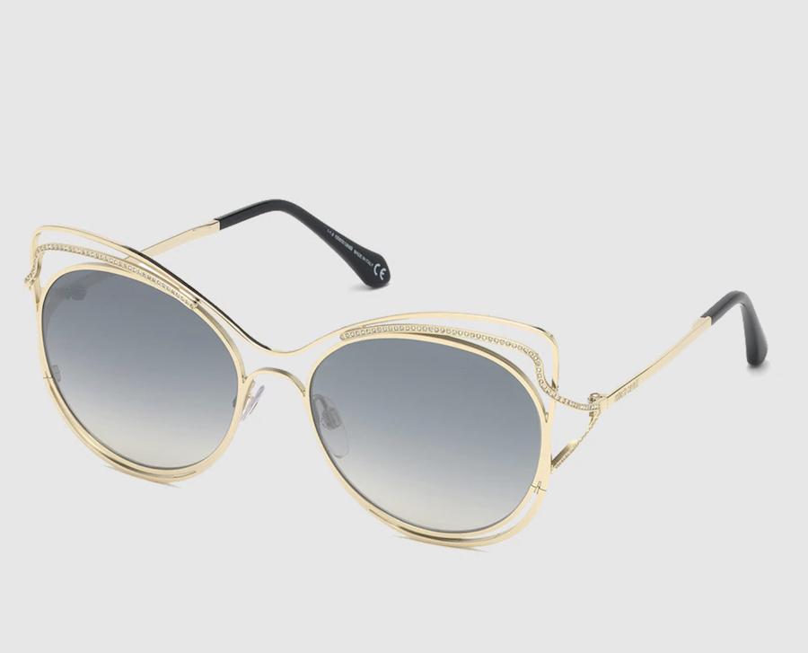 Gafas de sol de mujer Roberto Cavalli cat eye de metal en dorado con lentes grises