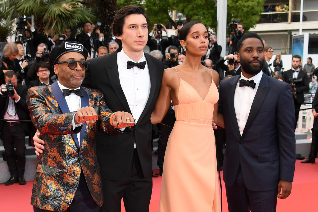 Spike Lee, Adam Driver, Laura Harrier y John David Washington en Cannes