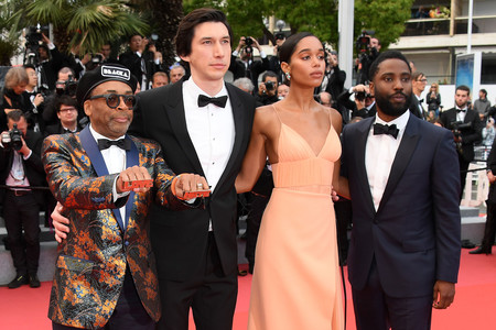 Spike Lee, Adam Driver, Laura Harrier y John David Washington en Cannes