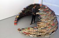 Un iglú hecho con libros