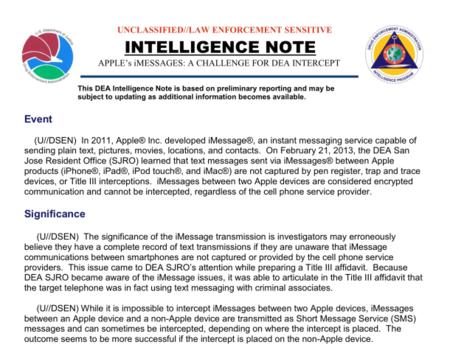 Nota de inteligencia de la DEA sobre iMessage
