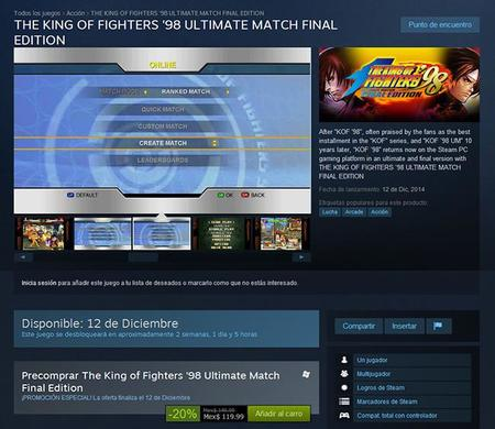 Ya Podemos Pre Ordenar En Steam The King Of Fighters 98 Ultimate Match Final Edition 00
