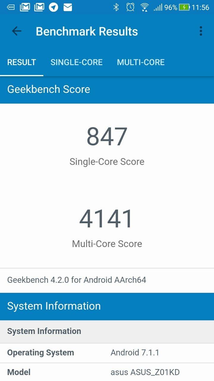 Benchmarks Zenfone 4
