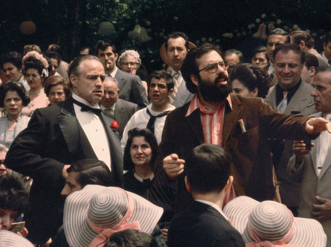 Marlon Brando y Francis Ford Coppola durante el rodaje de El Padrino