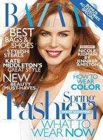 Nicole Kidman se esfuerza en sonreír en la portada de febrero de Harper's Bazaar