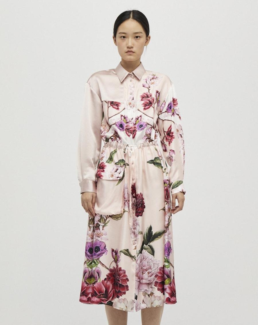 Vestido camisero con estampado floral