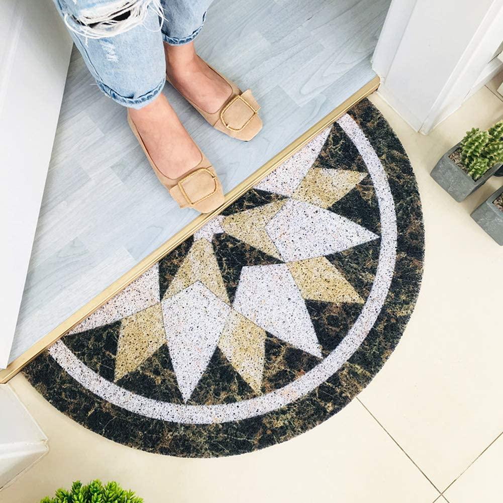 Xpccj Alfombra de PVC antideslizante diseño mármol patrón medio luna puerta delantera exterior interior práctica absorbente agua piso estera inferior 30 x 60 cm