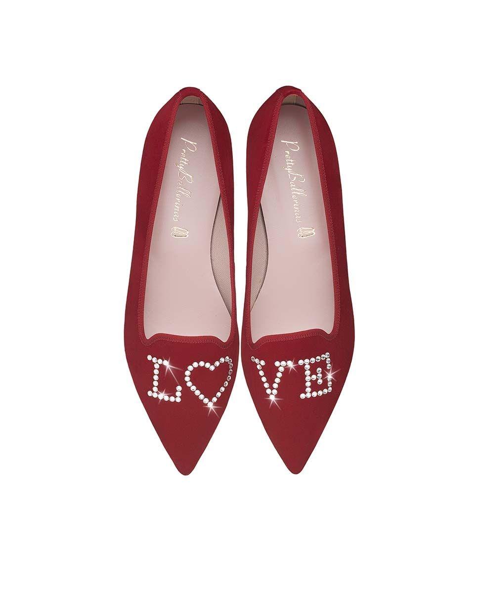 Slippers de mujer Pretty Ballerinas en ante rojo con cristales Swarovski