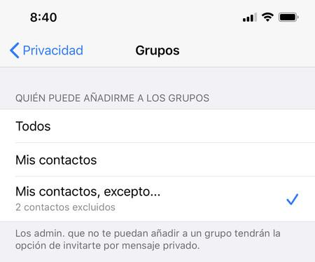 bloquear invitaciones grupos WhatsApp