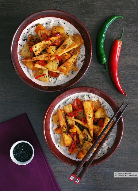 Triángulos De Tofu Salteado Con Piña Y Jengibre Receta Vegetariana Fácil