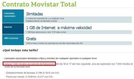 Detalle de la tarifa Movistar Total