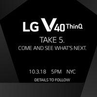 El nuevo LG V40 ThinQ será presentado el 3 de octubre y su invitación lo deja claro: tendremos cinco cámaras