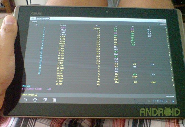 Formula1 oficial en un tablet Honeycomb