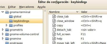 Combinaciones de teclas en GNOME Terminal
