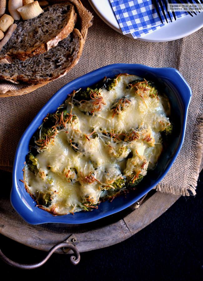 brócoli con bacon y bechamel