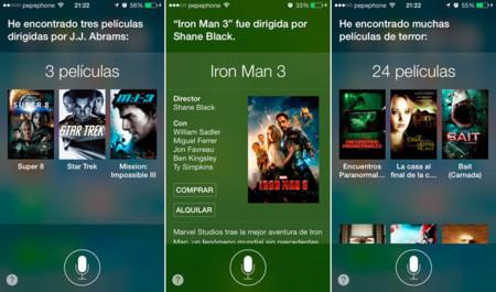 Preguntándole a Siri acerca de cine en iOS 7