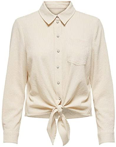 Only Onllecey LS Stripe Knot Dnm Shirt Noos Blusas para Mujer