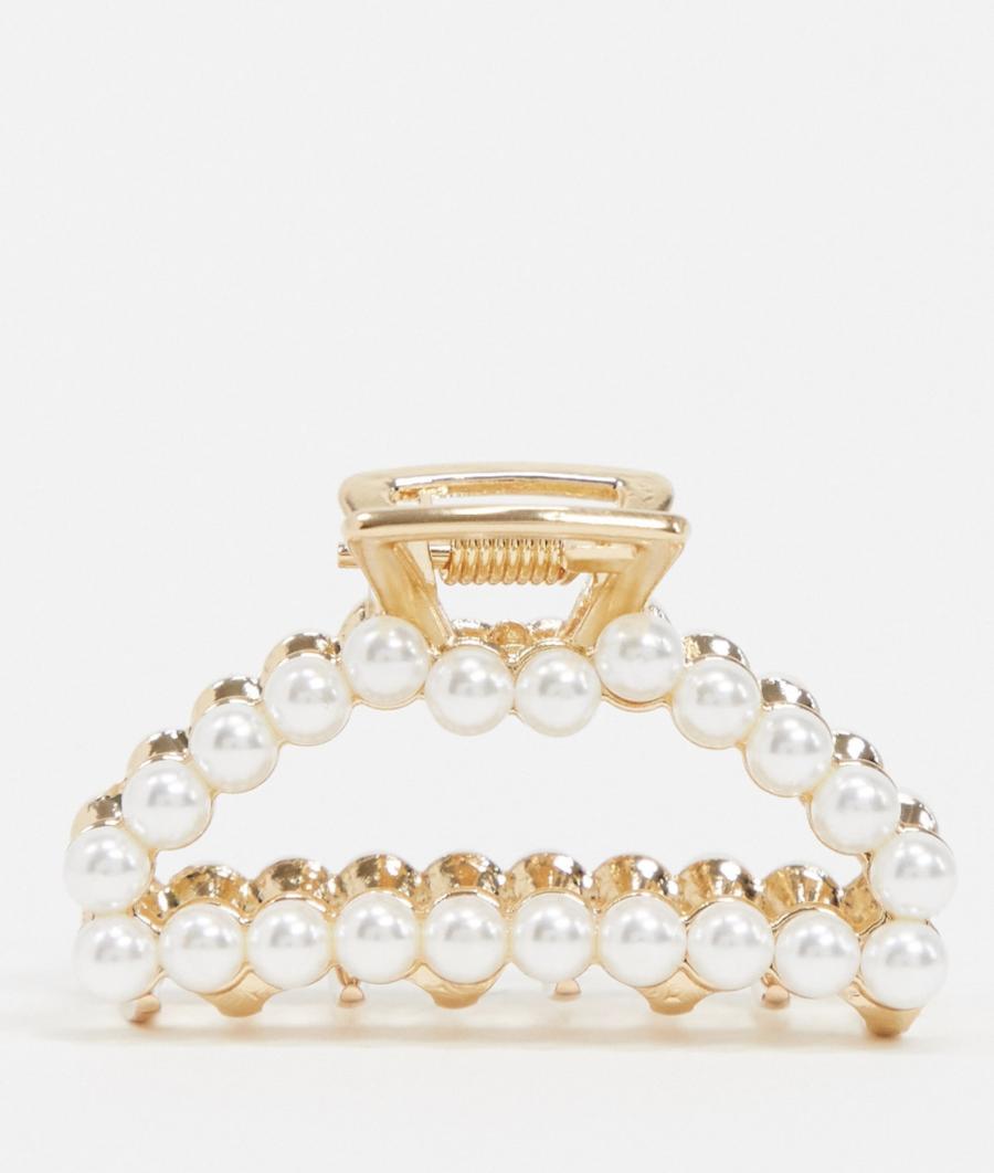 Pasador para el pelo en dorado con diseño abierto y perla de ASOS DESIGN