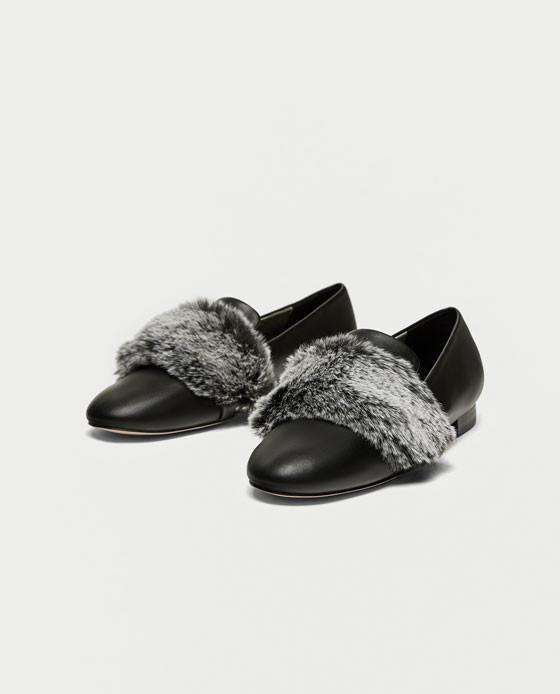 zapatos zara negros total black slippers