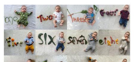 Una original forma de documentar el primer año del bebé... ¡con vegetales!