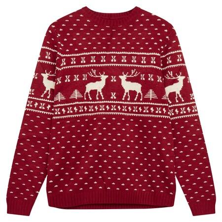 Asos Design Red And White Reindeer Jumper Gbp25