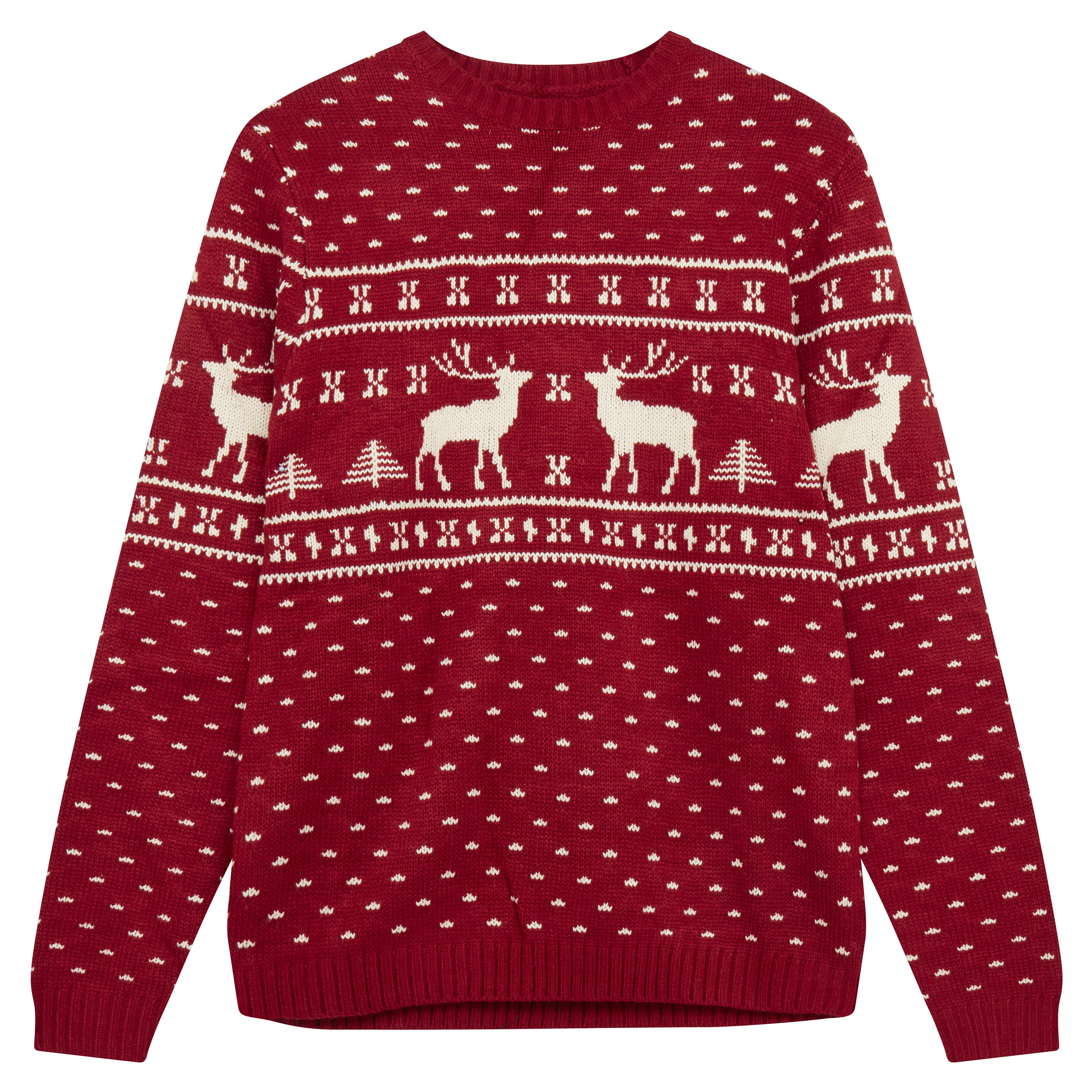Jersey de punto con diseño navideño de renos en rojo