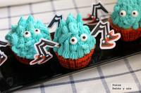 Recetas de Halloween. Cupcakes de arañas peludas