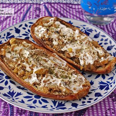 Berenjenas rellenas de champiñones y castañas al microondas: receta para una comida improvisada