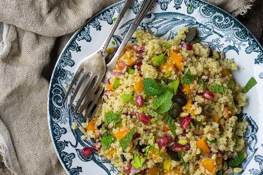 Ensalada De Quinoa Calabaza Asada Y Granada Receta Vegana