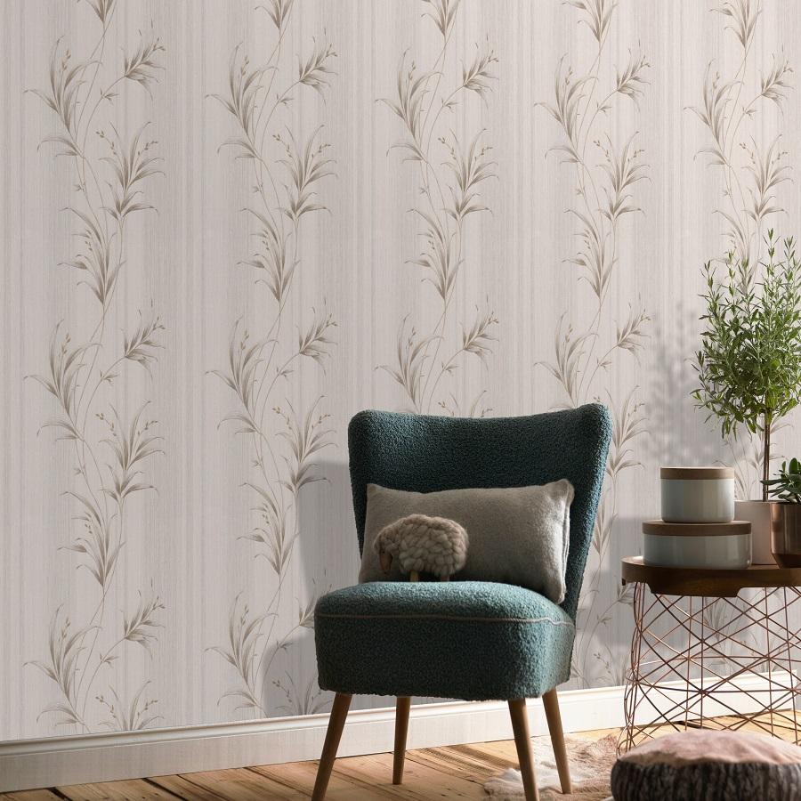 Papel pintado aspecto texturizado floral Classic beige