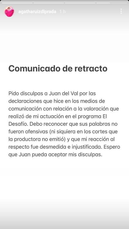Comunicado Ágatha Ruiz de la Prada