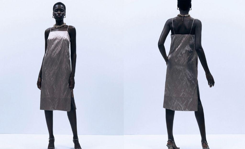 Vestido de tirantes finos y efecto satinado