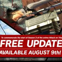 Attack on Titan 2 se actualizará con nuevos contenidos basados en la tercera temporada de la serie anime