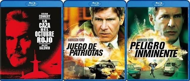 Carteles de los blurays españoles de La caza del octubre rojo, juego de patriotas y peligro inminente
