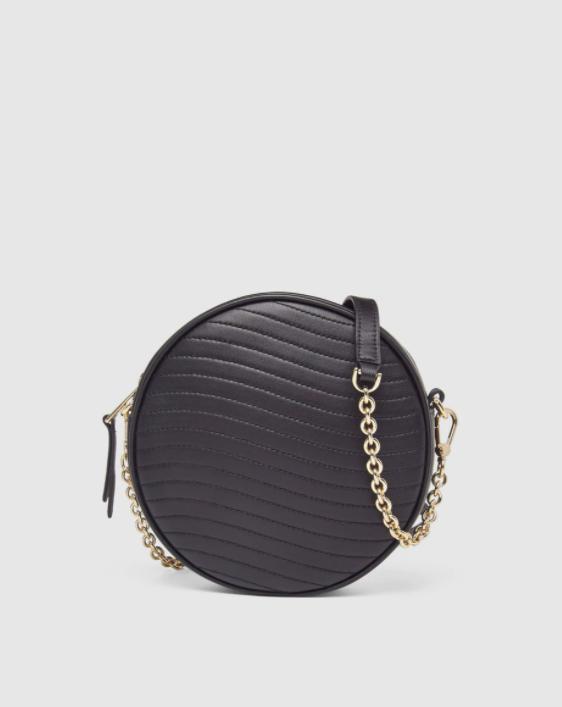 Bandolera mini redonda de mujer Furla Swing de piel en negro con cremallera
