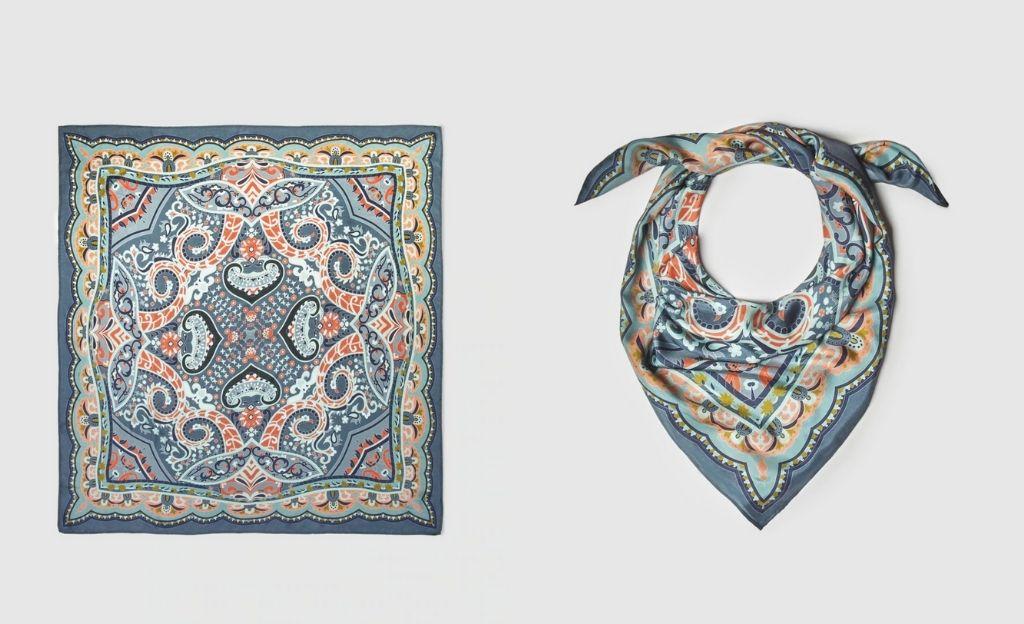 Pañuelo de seda El Corte Inglés con estampado paisley azul