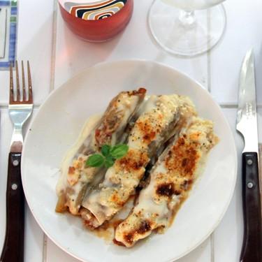 Falsos canelones de puerro y boloñesa casera