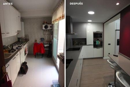 Antes y despu s integrando el patio interior en la cocina for Cocinas con salida al patio