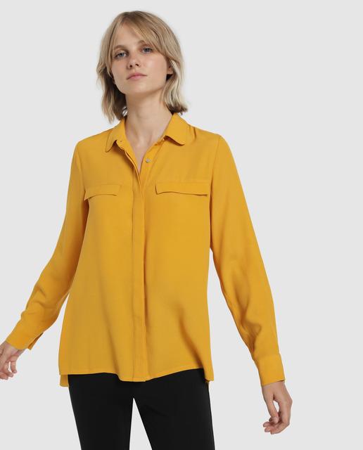 Blusa de mujer manga larga bolsillo con tapeta