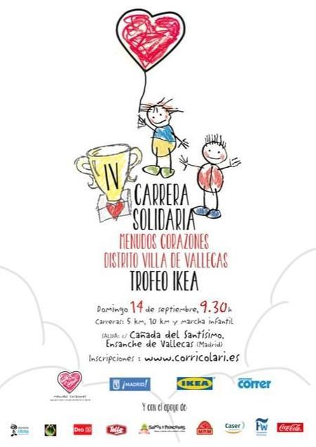 El domingo 14 de septiembre de 2014 se celebra la IV Carrera Solidaria Menudos Corazones Distrito Villa de Vallecas Trofeo IKEA