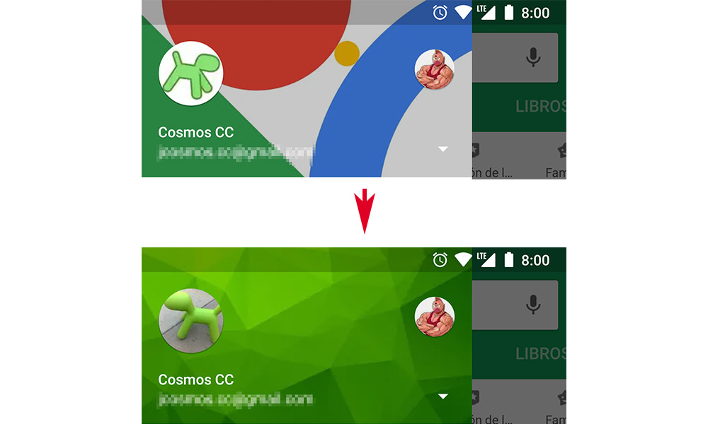 How to change the profile picture and the background of the menu of Google applications