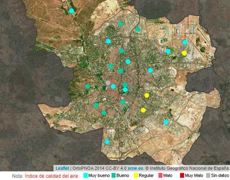 Niveles contaminación Madrid en tiempo real
