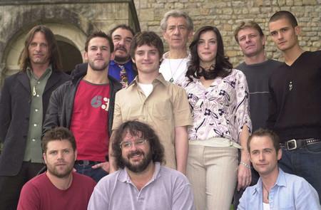 Peter Jackson con los protagonistas de El Señor de los Anillos
