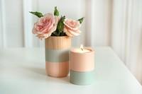 Shade on shape, adorables jarrones y portavelas en madera y colores pastel