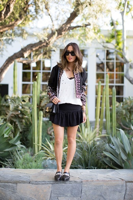 Aimee Song Sequin Jacket Iro Skirt Celine Box Bag Toga Pulla Loafers